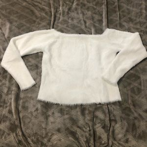 Fuzzy off the shoulder cropped sweater